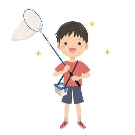 Boy going out to catch insects
