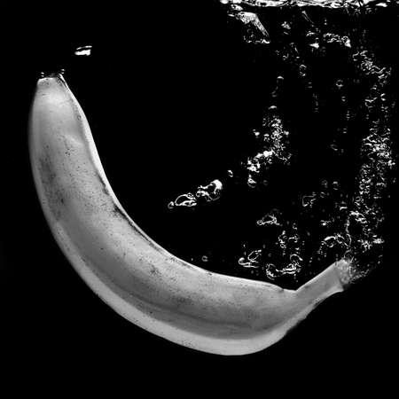 water black: Tasty Banana in water black and white photo.