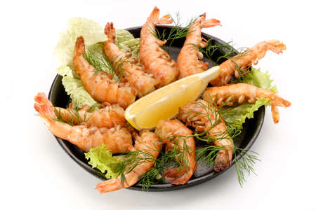 fried shrimp: Tasty dish of shrimp on a white background, professional chef cooked in the restaurant.