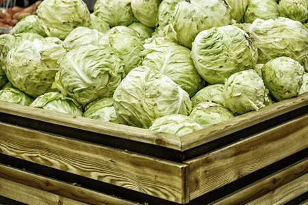 colfax: Group of green cabbages in a supermarket at Full frame, close up view of green cabbages. Healthy concept. Stock Photo