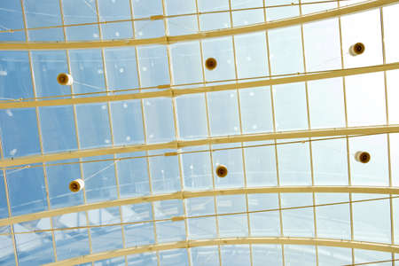 glass ceiling: abstract blue glass ceiling inside shopping mall