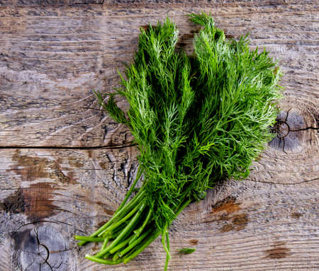 Bunch of green dill tied with a rope on a tree stump