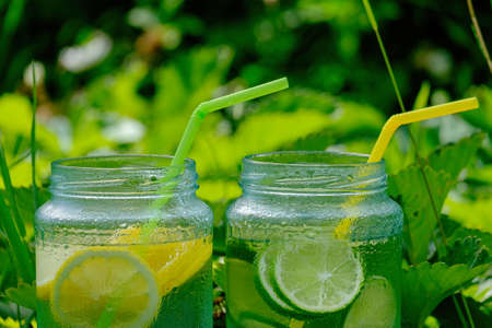 Lemonade in glass jars with tubes for cocktail on the blackboard in garden, on green blurred background