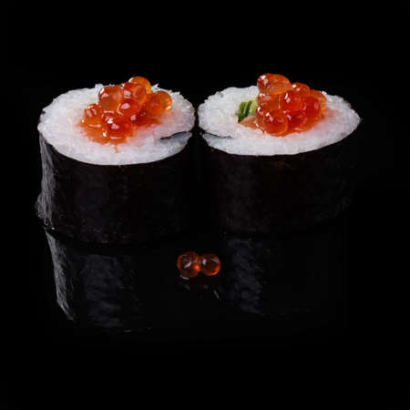 philadelphia: sushi on black background roll, asia