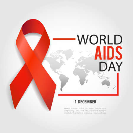 Vector illustration on the theme World Aids Day. Red ribbon. World map. Vectores