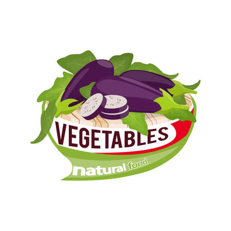 Whole and sliced eggplants with leaves on a cutting board vector