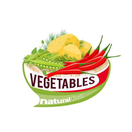 Potato, chili and peas on a cutting board vector Illustration