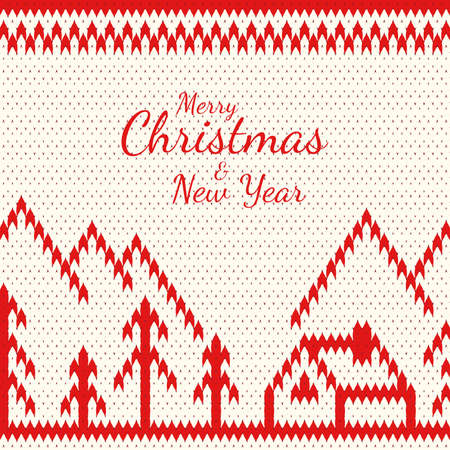 Knitted greeting card to Merry Christmas and New Years. A knitted pattern with a natural landscape and a congratulatory inscription.