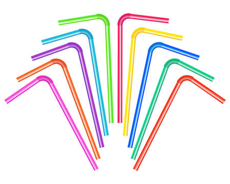 Vector illustration of a set of colored drinking straws. Illustration