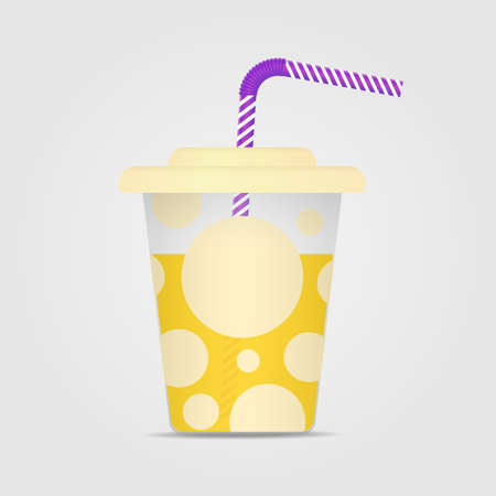 Vector illustration of a transparent plastic cup, with a lid and a straw. Illustration