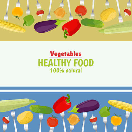 Fresh vegetables on forks. Healthy eating.