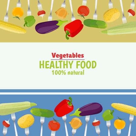 Fresh vegetables on forks. Healthy eating.