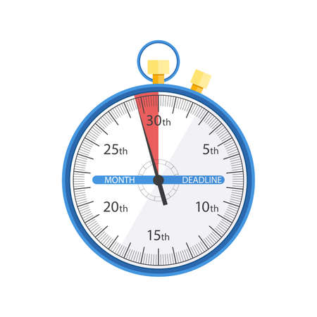 Flat stopwatch symbol. Deadline time concept. Illustration