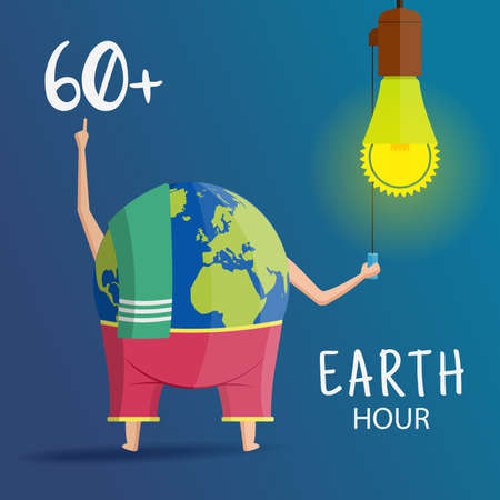 Vector Illustration on the theme Earth Hour for a poster or banner.