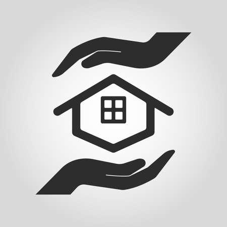 Icono de la casa y las manos para el concepto inmobiliario. Ilustración de vector