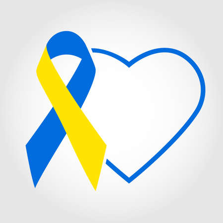 Combination of yellow and blue colored ribbon and heart outline for World Down Syndrome Day.