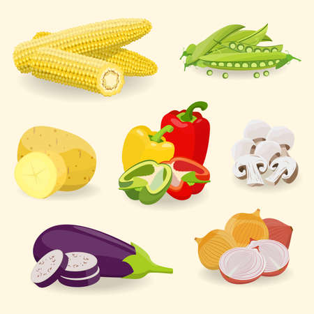 Illustration of healthy food such as vegetables `