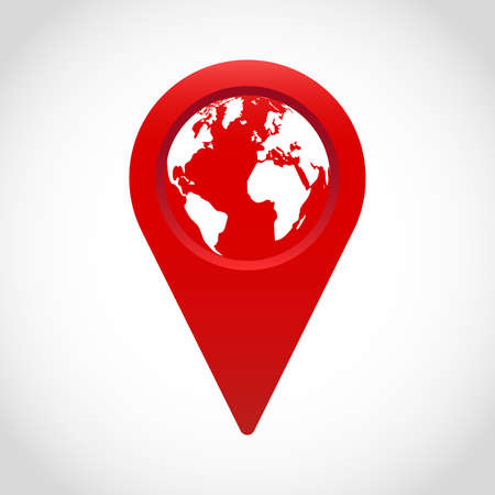 Red vector geo-location sign with a globe isolated on plain  background