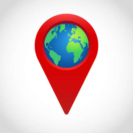 Red vector geolocation sign with a globe. location map pointer.