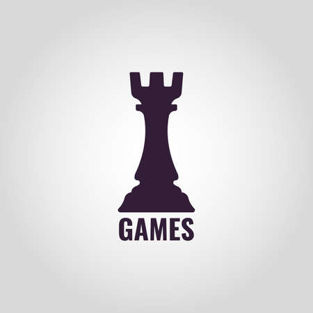 Chess Castle Vector sign castle of chess isolated on plain gray background.