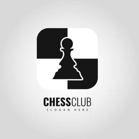 Chess Pawn Logo design Vector sign isolated on plain gray background.  イラスト・ベクター素材