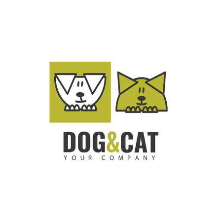 icon template. The image of a dog and a cat, suitable for business that is associated with pets.