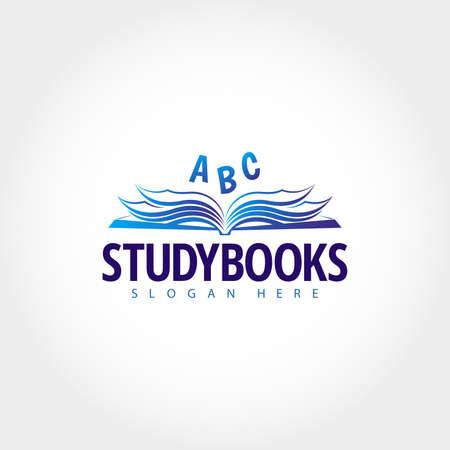 Modello di logo. Bookstore logo design.