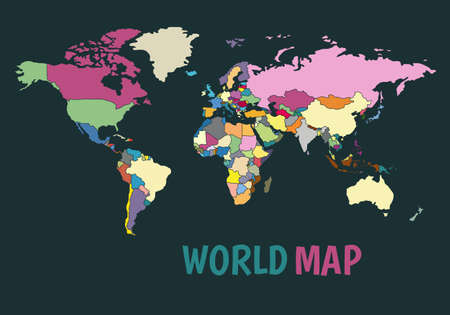 Colorful political map of the world. Illustration in a flat style Illustration