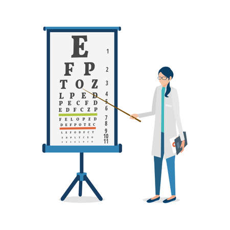 Vector cartoon illustration. Ophthalmologist examines the eyes through a visual acuity chart