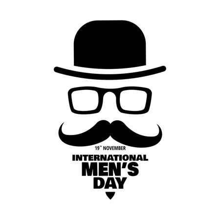 Illustrazione vettoriale sul tema Giornata internazionale dell'uomo. Per un poster o un banner e un biglietto di auguri.