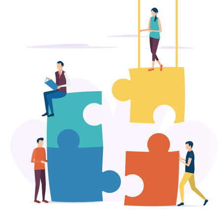 The concept of business teamwork. Business problem solutions. Cooperative solution of the puzzle. Vector illustration in flat style.