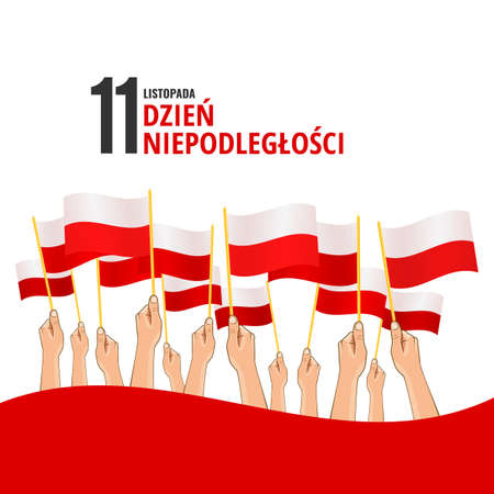Vector Illustration of the Day of Poland. Hands with Poland flags Stock Illustratie