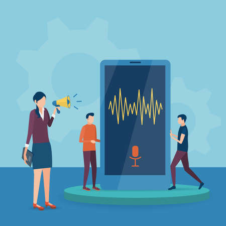 The concept of voice recognition technology. Vector illustration in flat style.