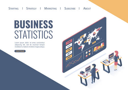 Isometric vector illustration. Concept analysis of data, statistics research. Finding the best business solutions. Flat style. Illustration