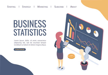 Concept of business statistics. Finding the best business solutions. Can use for web banner, infographics. Flat isometric style.