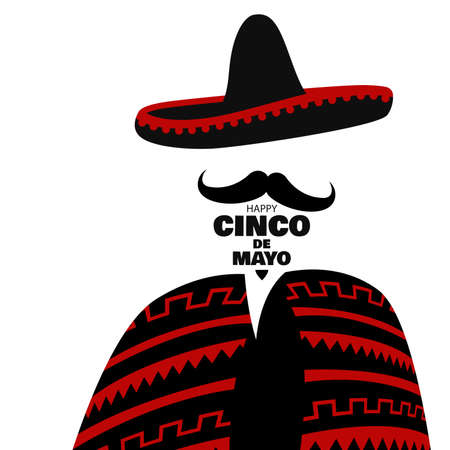 Vector illustration for the holiday of Cinco de Mayo. Design with lettering, and national elements of the holiday.