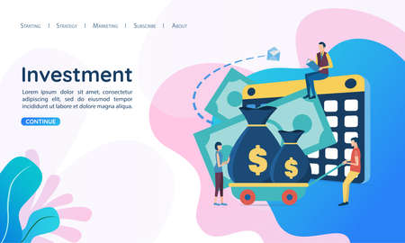 The concept of Investment. Investment in business development. Vector illustration in flat style.
