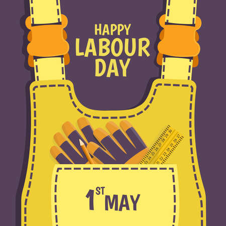 Vector Illustration on the theme Labor Day. For a poster and banner. Work clothes with tools. Illustration