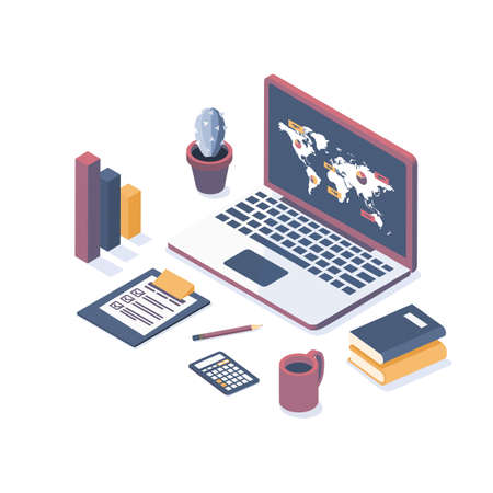Isometric vector illustration. Laptop with elements of infographics. Concept analysis of data, statistics research. Flat style