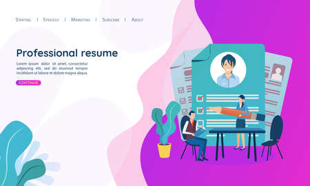 Vector illustration in a flat style. Document with personal data, application for employment, professional resume. Business concept for employment, career choice, job seeker