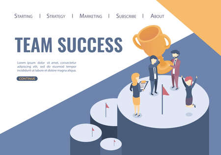 Isometric vector illustration. The concept of the victory of the business team. Team success, Flat style.