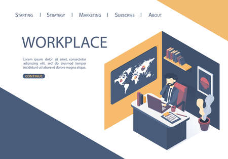 Isometric vector illustration. The concept of the workplace in the office. Businessman in the office room analyzes. Flat style.