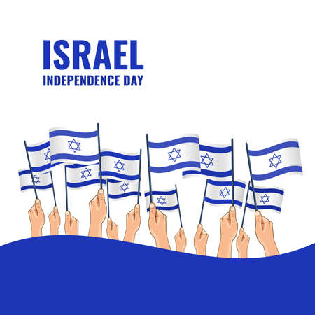 Vector Illustration of the Day of Israel. Hands hold the flags of the country