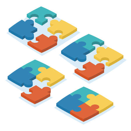 Vector illustration. Isometric design. A set of puzzles