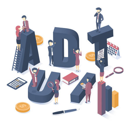 Isometric vector illustration. The concept of business auditing. Professional audit advice. Web banner. Illustration