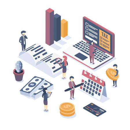 Isometric vector illustration. The concept of business auditing. Tax audit. Verification of accounting data. Financial report. Professional audit advice.