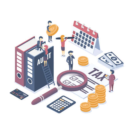 Isometric vector illustration. The concept of business auditing. Tax audit. Verification of accounting data. Financial report. Professional audit advice. Flat isometric style.
