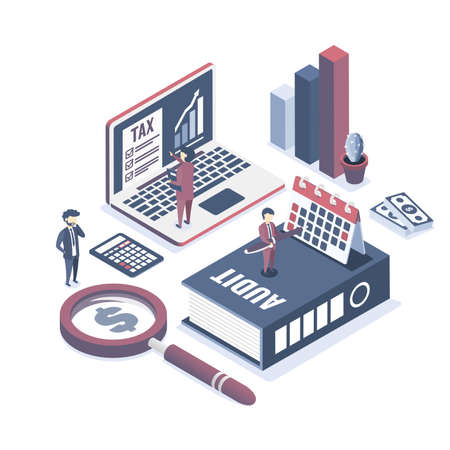 Isometric vector illustration. The concept of business auditing. Verification of accounting data. Professional audit advice. Illustration