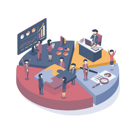 Isometric vector illustration. Business concept of the company. Development and process in business. Business organization.