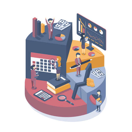 Isometric vector illustration. Business concept consulting services, analysis and business statistics. Infographics of business development. Isometric design.